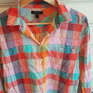 Women's JCrew Multi-Plaid Shirt